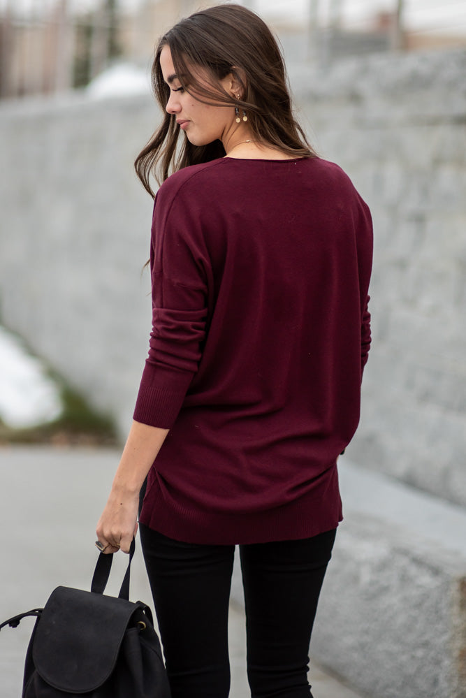 Lucille Over Sized Sweater in Burgundy