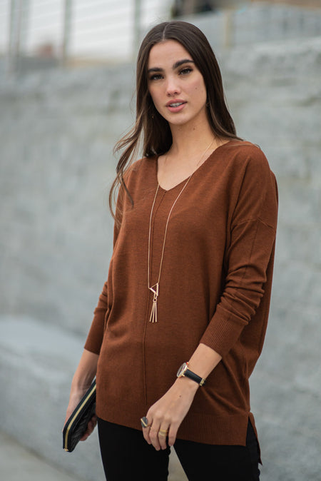 Lucille Over Sized Sweater in Brown