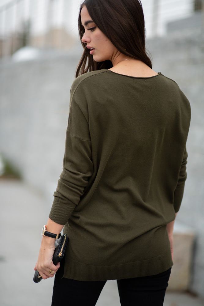 Lucille Over Sized Sweater in Olive