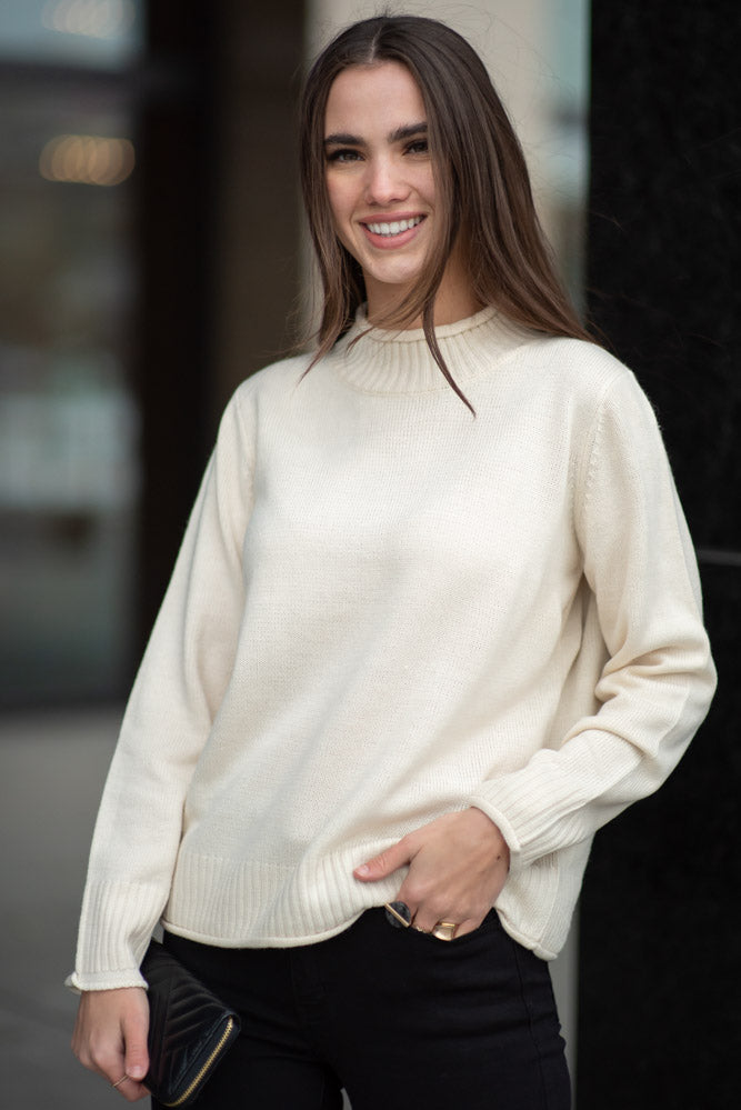 Devin Mock Neck Sweater in Cream