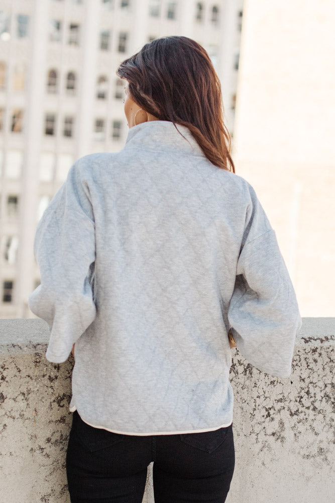 Jenna Button Pullover in Grey
