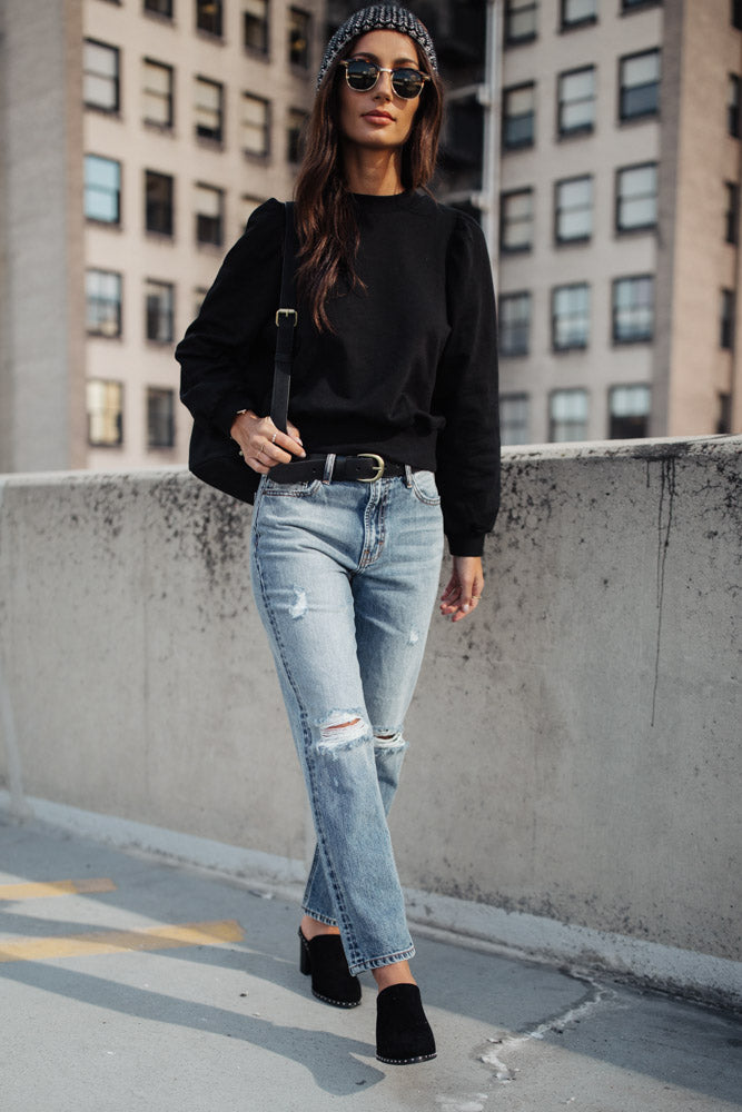 Mick Puff Shoulder Sweatshirt in Black