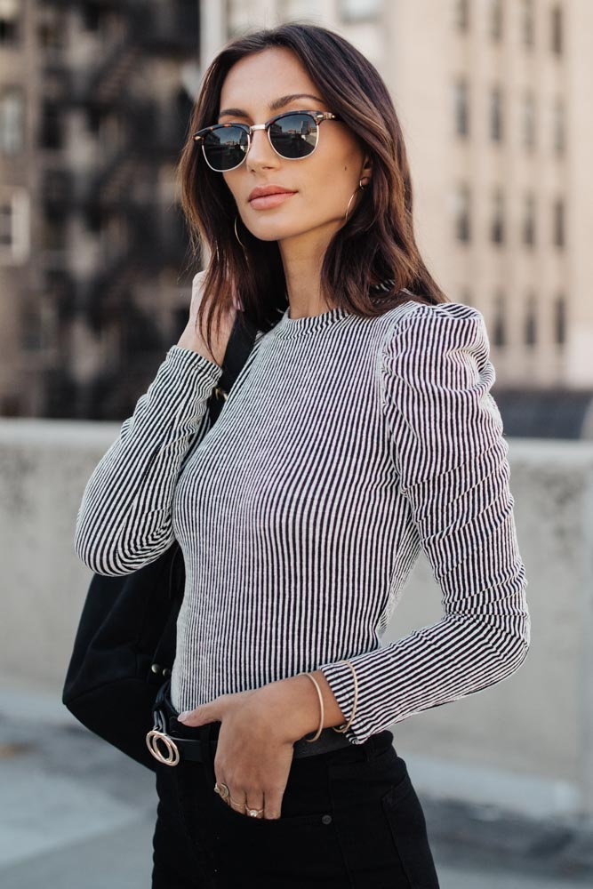 Caroline Striped Puff Sleeve Top