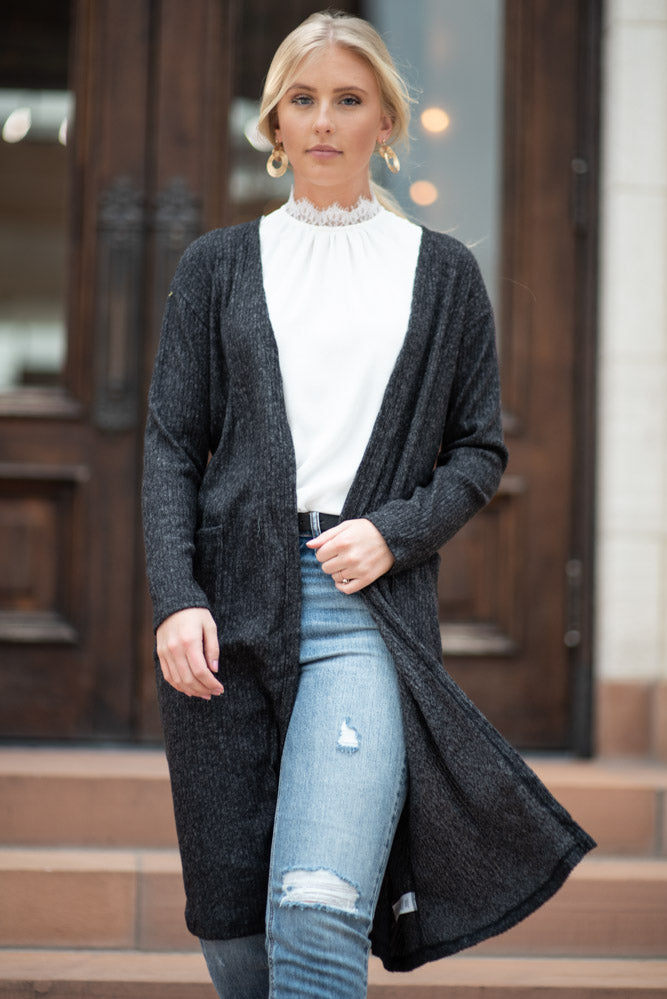Lane Cardigan in Charcoal