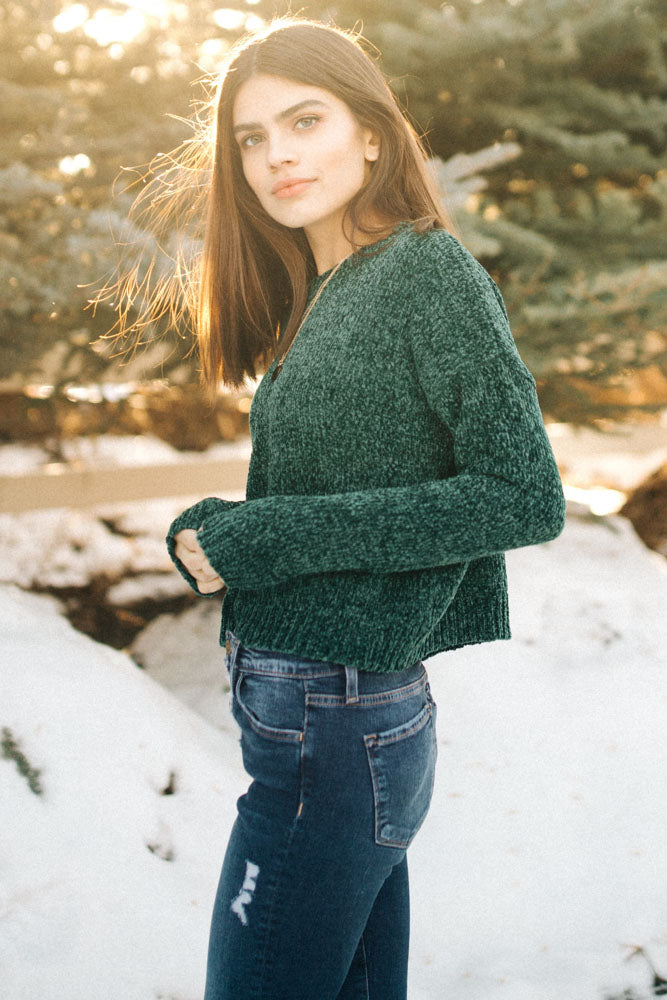 You're So Chenille Sweater in Forest Green