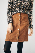 Kingsley Corduroy Button Skirt in Chocolate