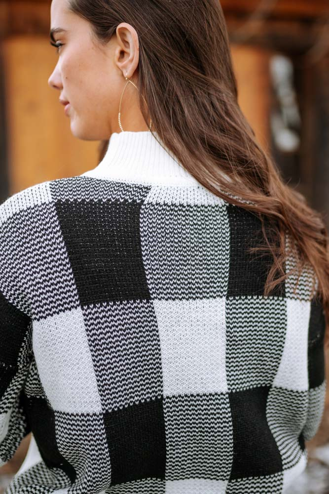Plaid Mock Neck Sweater