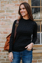 Detailed Mock Neck Sweater in Black