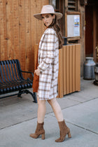 Valerie Plaid Coat in Ivory - FINAL SALE