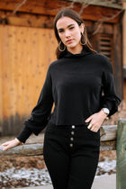 Cropped Mock Neck Top in Black