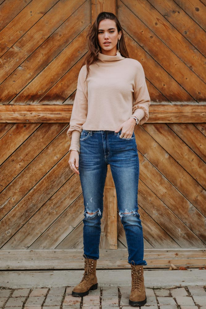 Cropped Mock Neck Top in Tan