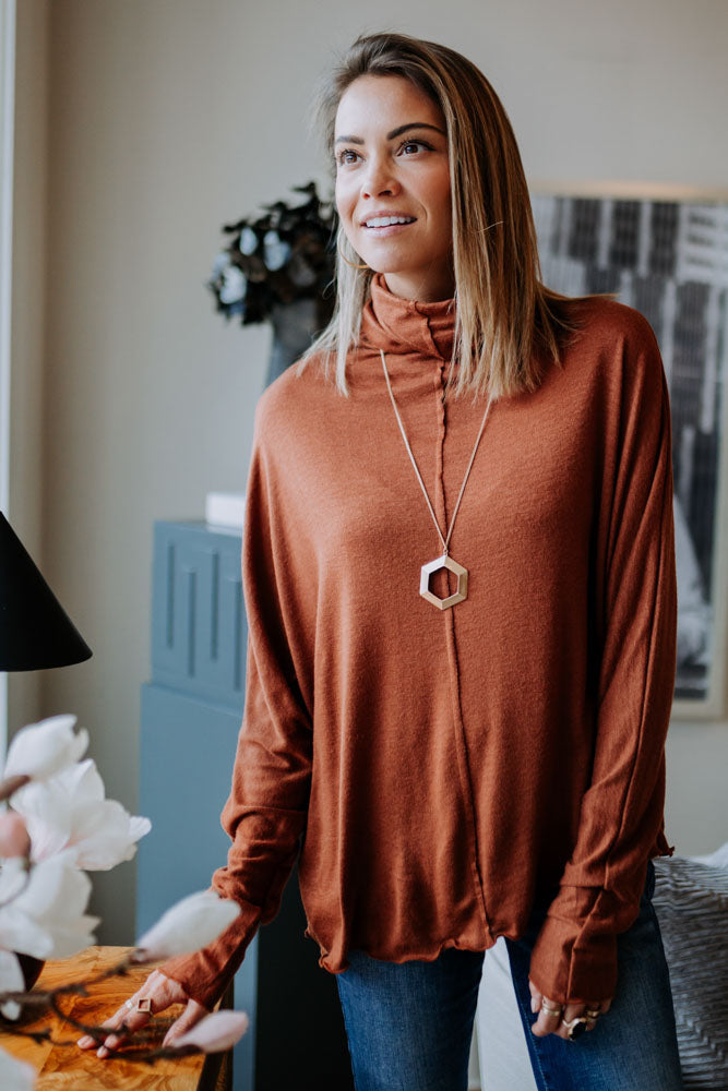 Dolman Cowl Neck Top in Rust