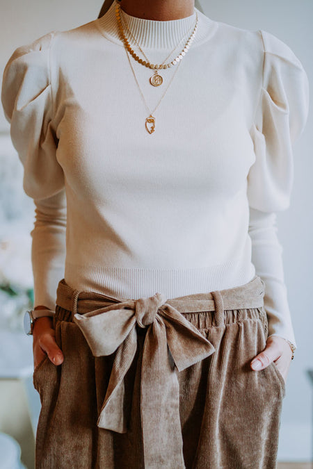 Puff Sleeve Sweater in Cream