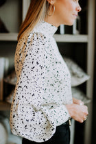Patterned Mock Neck Blouse