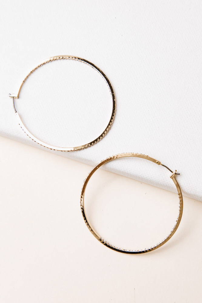 Crystal Studded Hoops in Gold