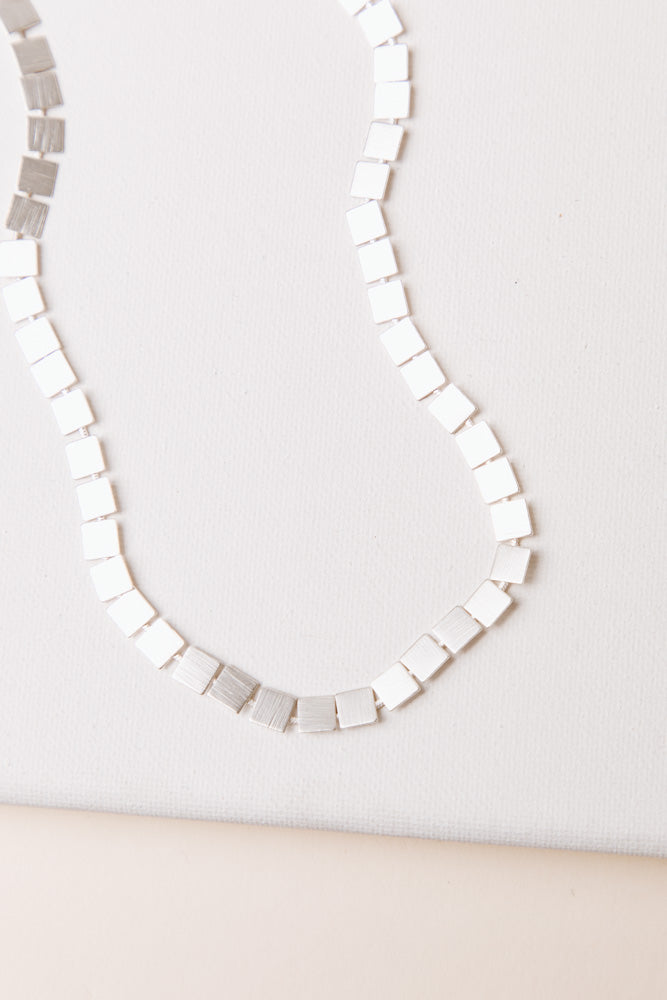 Square Necklace in Silver