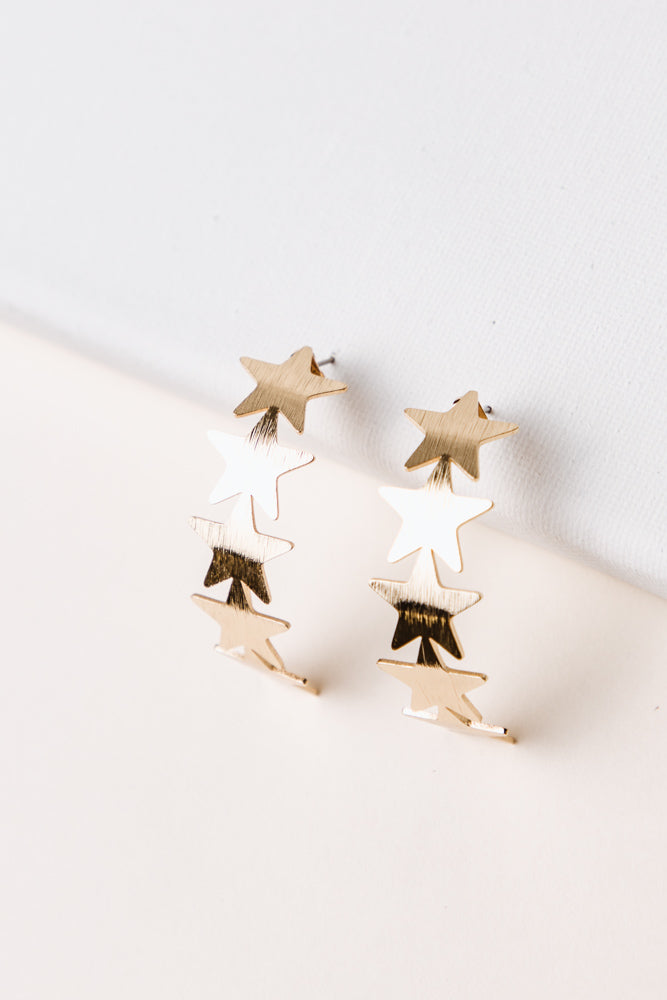 Curved Star Earrings
