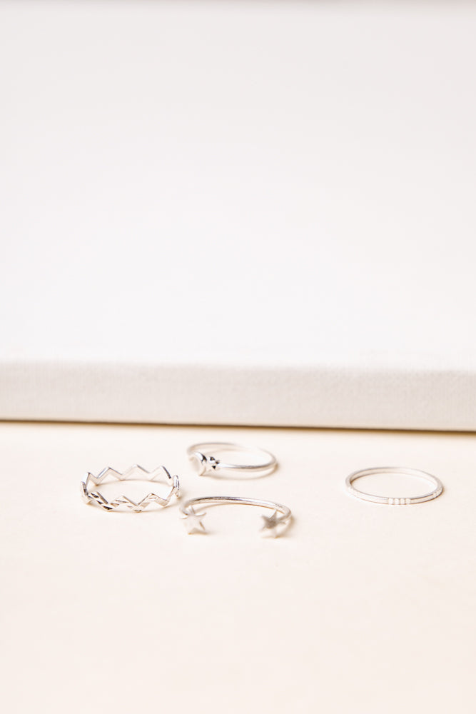 Four Ring Set in Silver