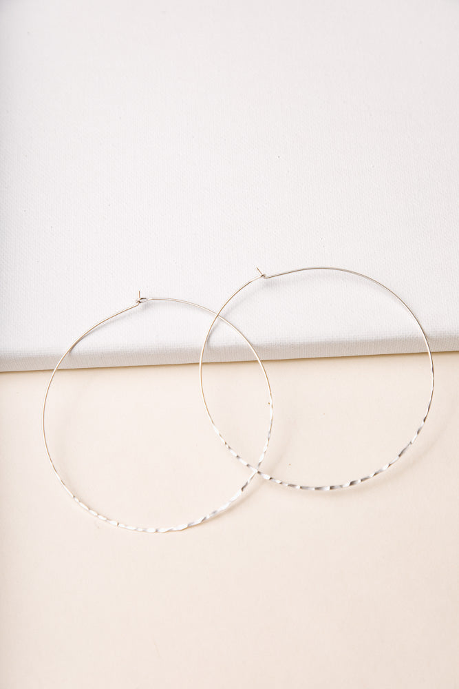 Over Sized Textured Hoops in Silver