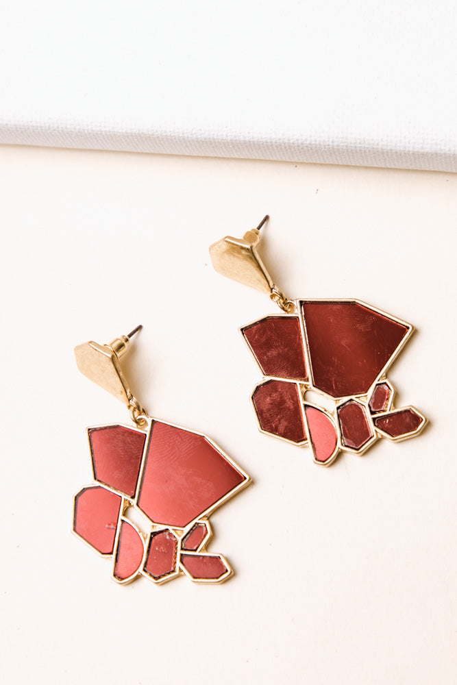 Abstract Stained Glass Earrings in Red