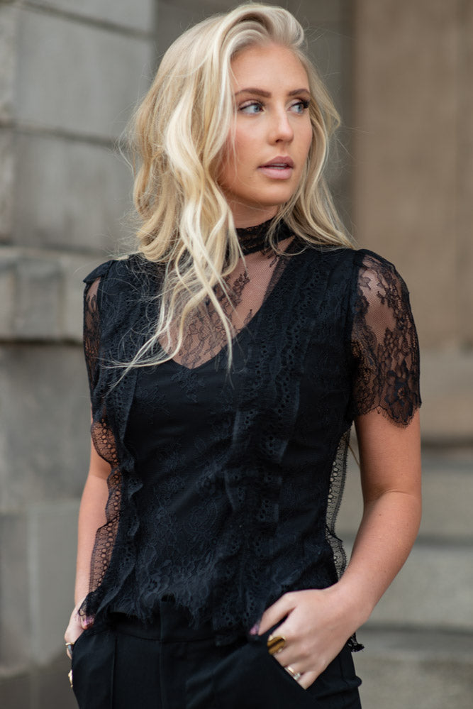 Edith Lace Top in Black