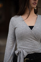 Aria Striped Wrap Top