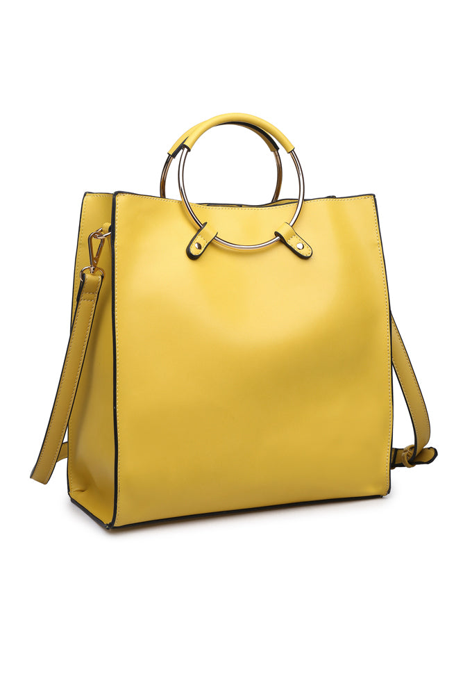The Natalie Metal Ring Mustard Handbag
