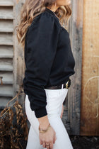 Puff Sleeve Sweatshirt in Black