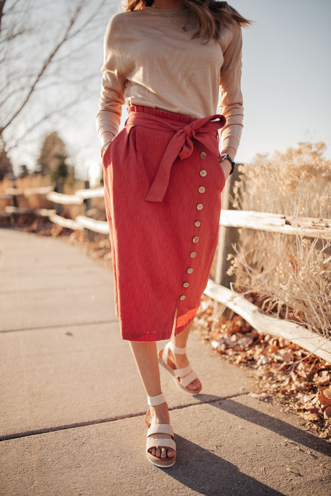 Ginger Midi Skirt in Rust