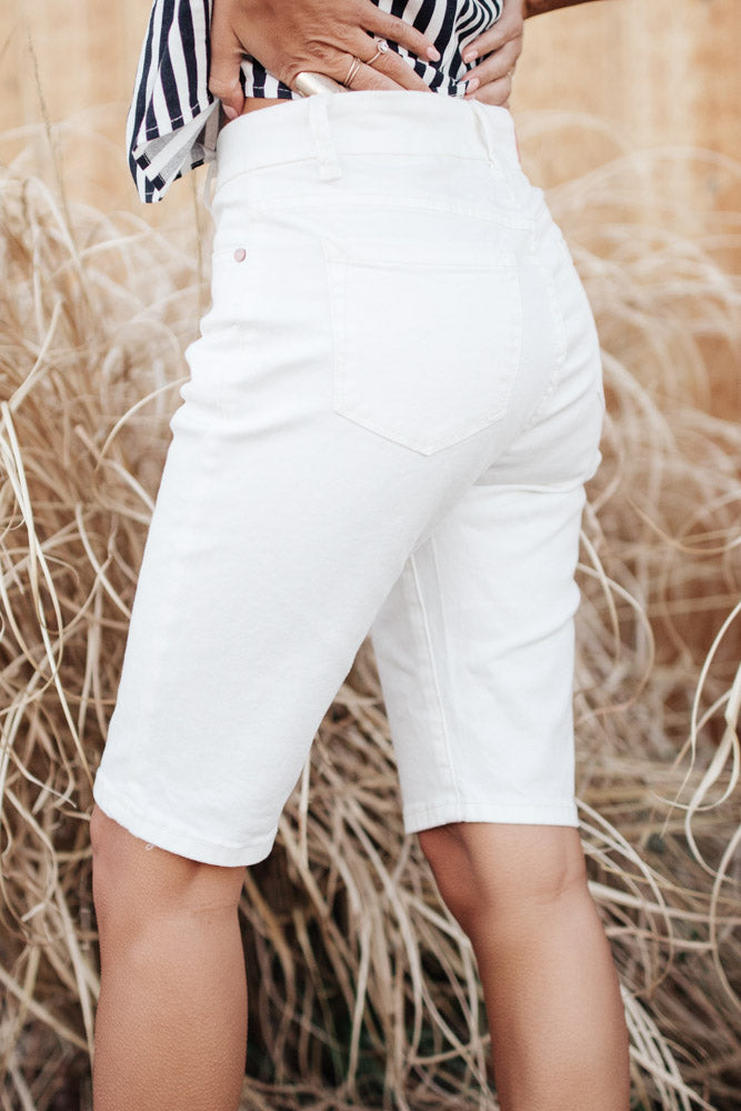 Bohme Button Fly Bermuda Shorts in White