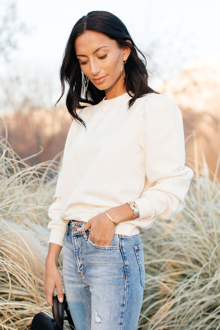 Puff Sleeve Sweatshirt in Cream