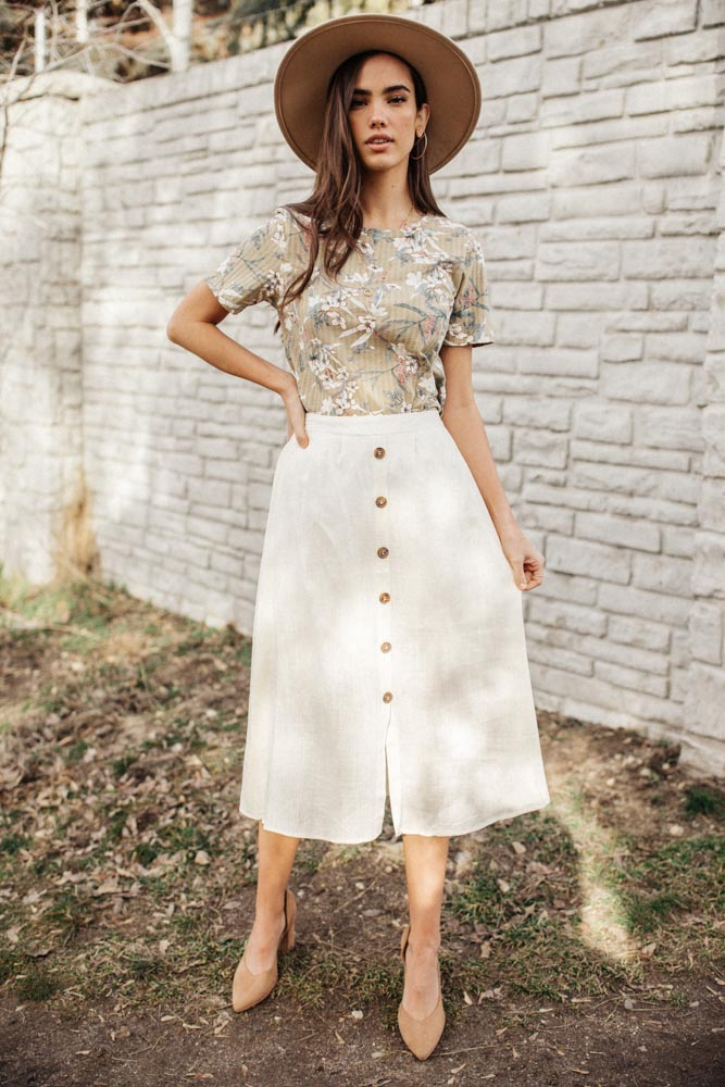Etta Linen Midi Skirt in Cream