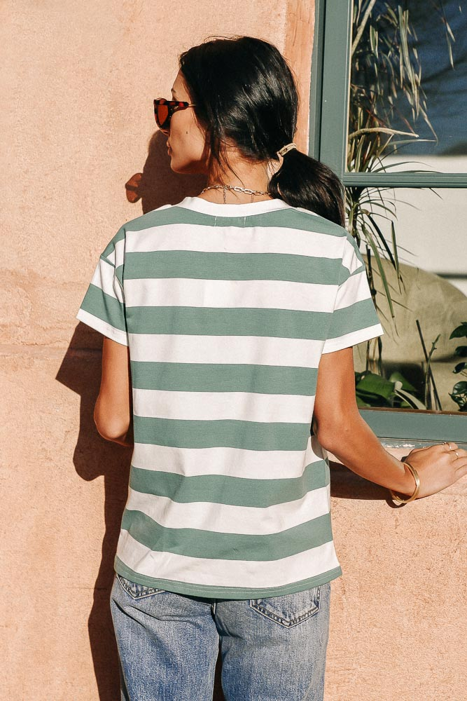 Pierre Striped Tee in Green