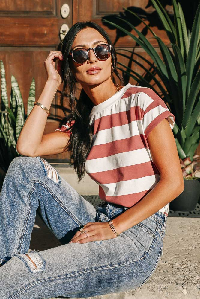 Pierre Striped Tee in Red
