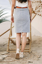 Flying Monkey Button Fly Skirt in Pinstripe
