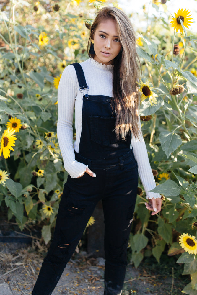 Black Cross Back Denim Overall