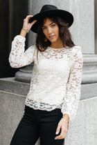 Floral Laced Ruffle Detail Top