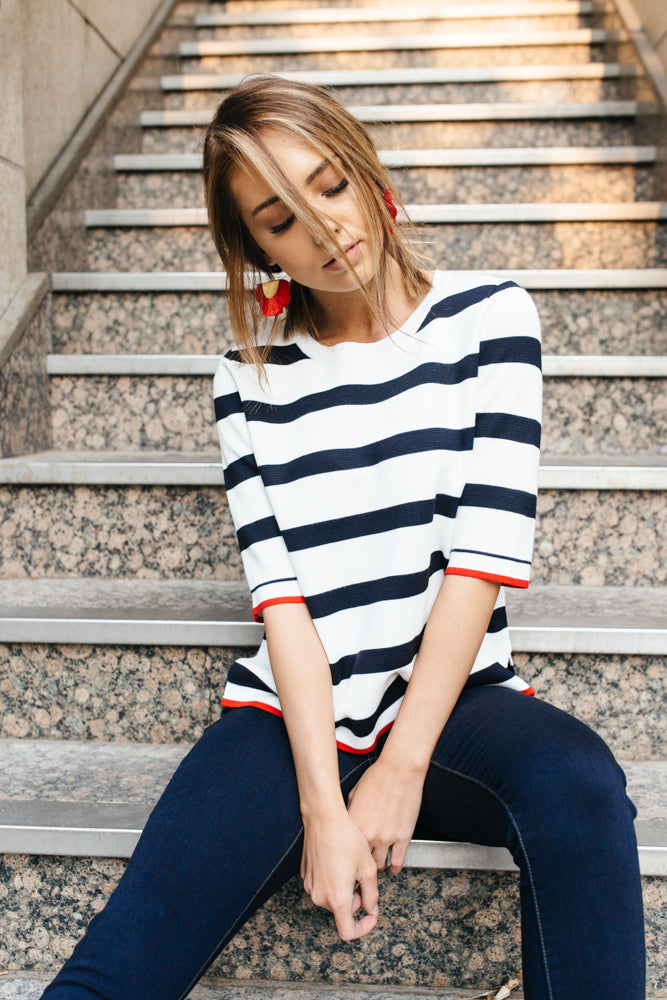 Striped Crew Crop Top - Bohme