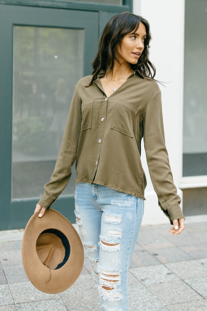 Carlton Button Down in Olive-FINAL SALE