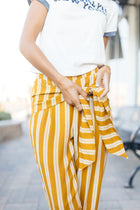 Lilou Knotted Stripe Pants in Mustard-FINAL SALE
