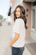 Stripe & Twist Top in Ivory - Bohme