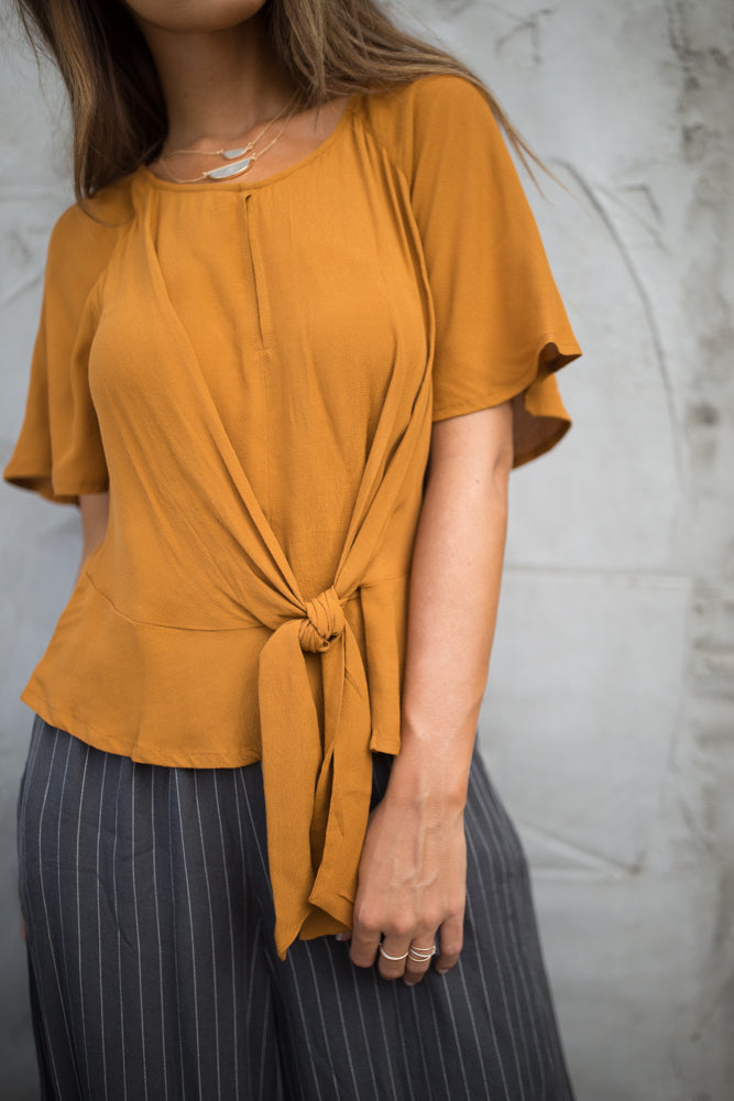 Why Knot Top in Camel-FINAL SALE - Bohme