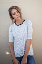 Hailey Striped Tee in Black - Bohme