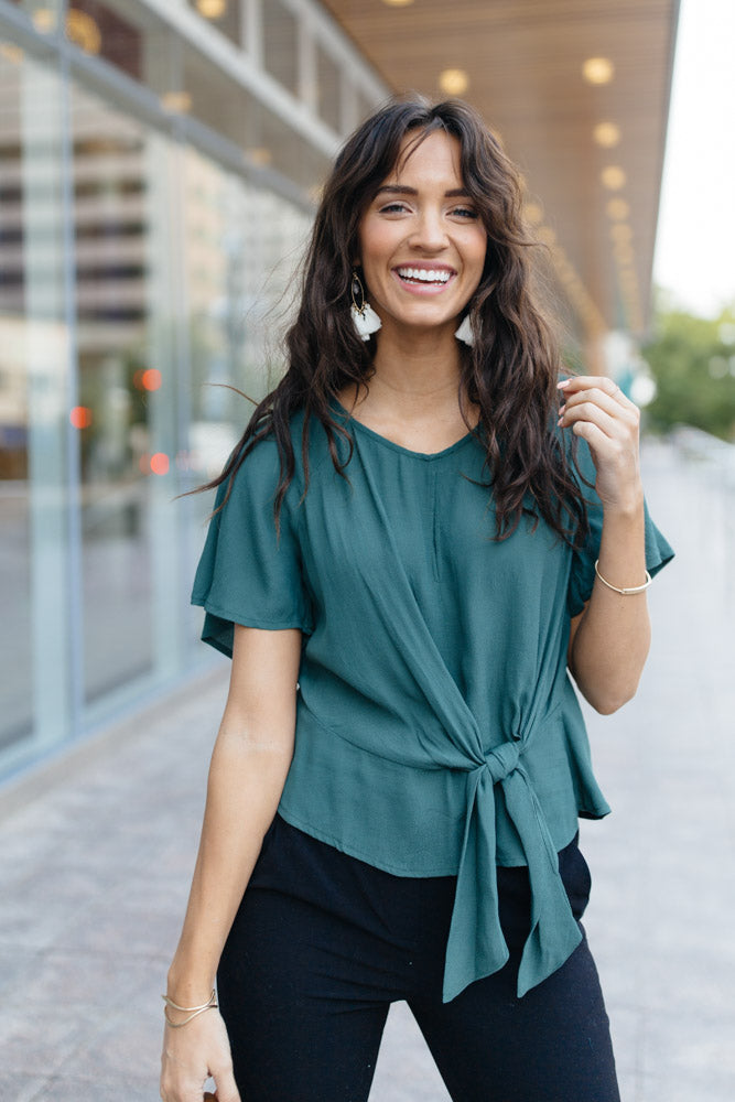 Why Knot Top in Hunter Green-FINAL SALE - Bohme