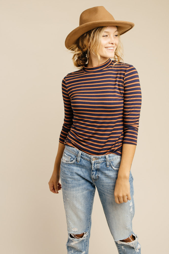 This Chic Navy And Rust Mock Neck Top - FINAL SALE