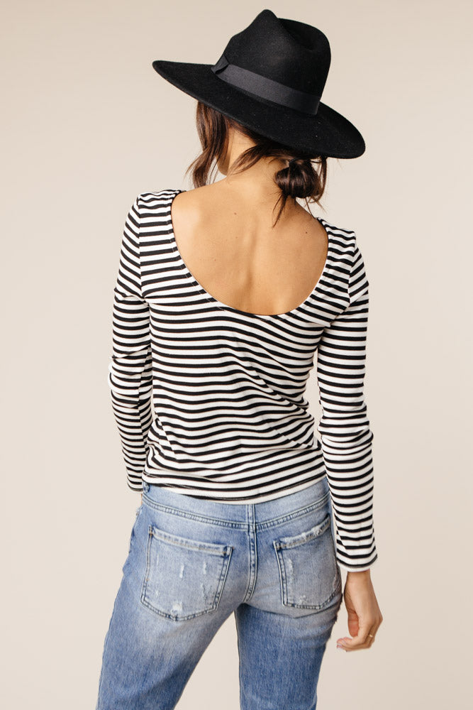 Billie Scoop Back Top in Black