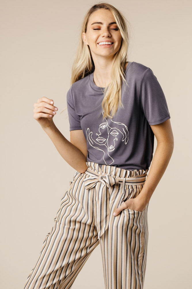 Lucy Paperbag Stripe Pants in Taupe