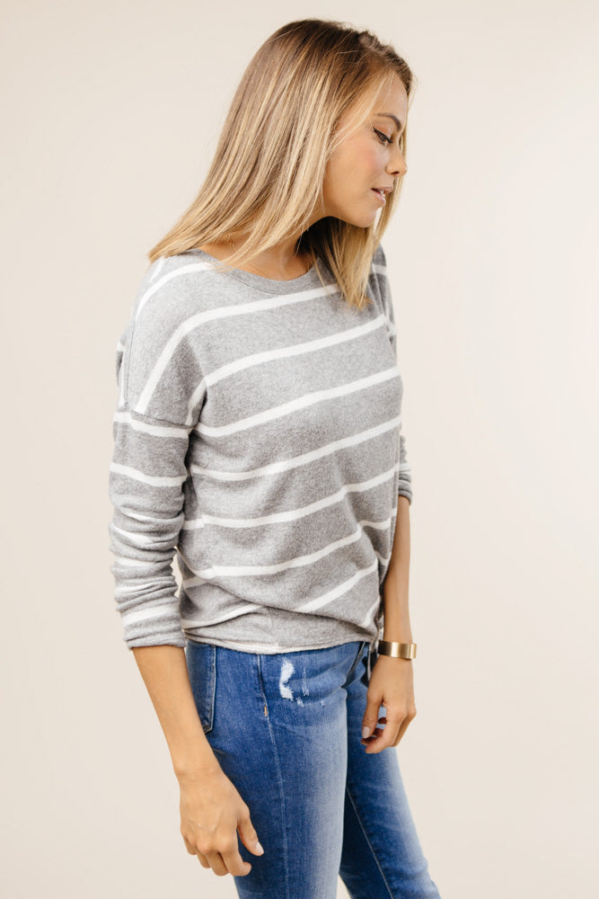 striped grey sweater bohme