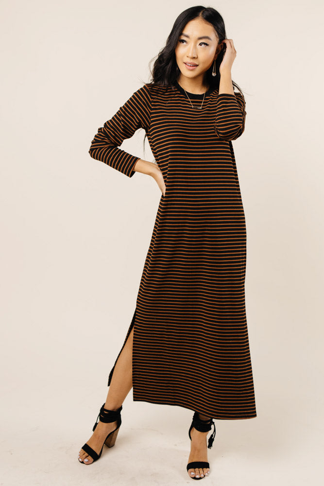 Izzy Striped Long Sleeve Dress Bohme