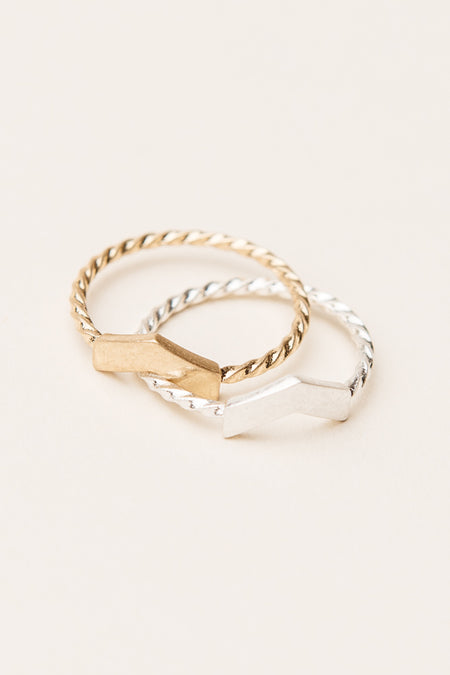 Sasha Twisted Ring Set
